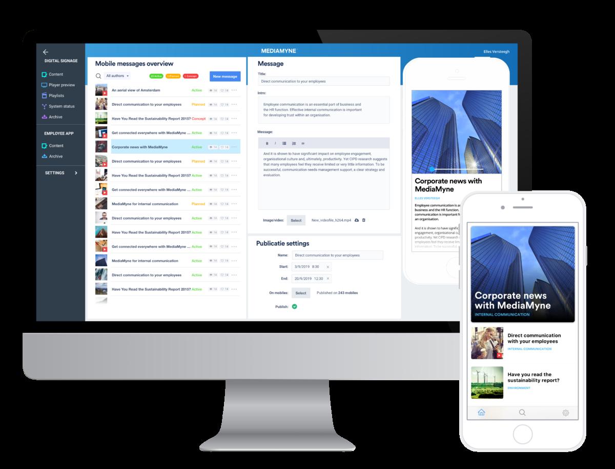 Berichten publiceren op beeldscherm en mobiel MediaMyne 4.0