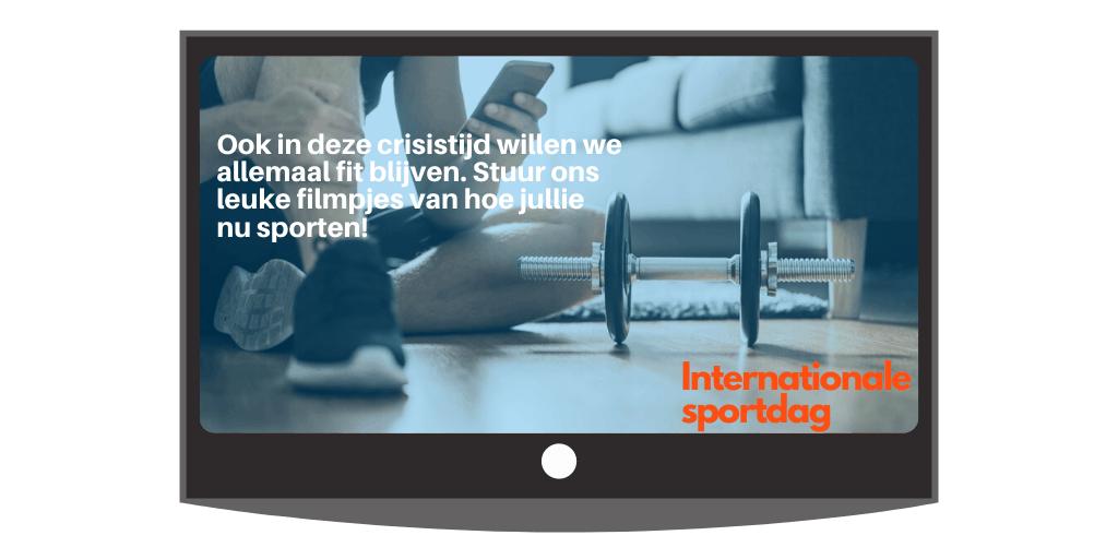 Voorbeeld bericht over de Internationale sportdag voor op de narrowcasting